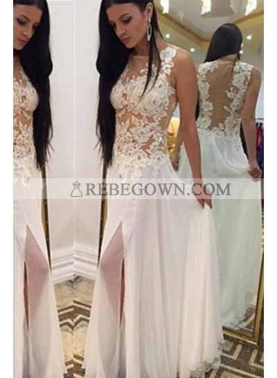 2021 Unique White Long Floor length A-Line Sleeveless Appliques Chiffon Prom Dresses