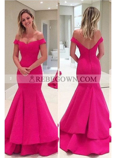 Off-the-Shoulder Mermaid Satin Fuchsia Prom Dresses