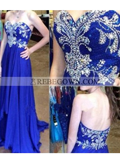 rebe gown 2021 Blue Long Floor length A-Line Embroidery Sweetheart Chiffon Prom Dresses