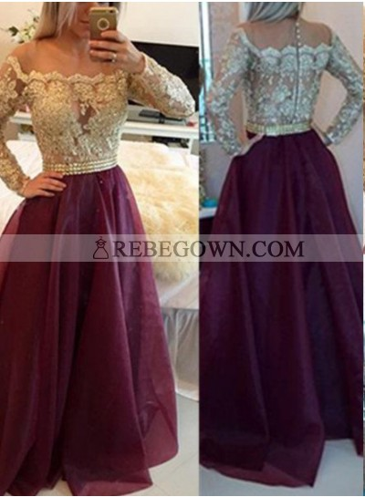 Burgundy Long Floor length A-Line Off-the-Shoulder Long Sleeve Prom Dresses