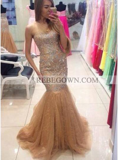 Mermaid Sweetheart Sleeveless Natural Sweep Train Prom Dresses