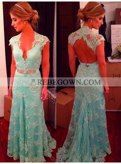 Sleeveless Natural Sweep Train Lace Prom Dresses