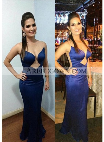 rebe gown 2020 Blue Sexy Sheer Back Sleeveless Column/Sheath Satin Prom Dresses