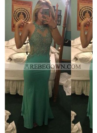 Mermaid Sleeveless Natural Beading Long Floor length Prom Dresses