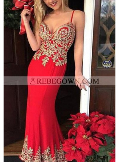 2020 Gorgeous Red Mermaid Spaghetti Straps Sleeveless Natural Zipper Long Floor length Chiffon Prom Dresses