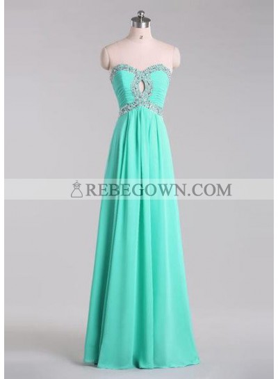 rebe gown 2020 Blue A-Line Sweetheart Sleeveless Natural Prom Long Floor length Chiffon Prom Dresses