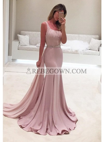 Elegant Crystal One-Shoulder Mermaid Stretch Satin Prom Dresses