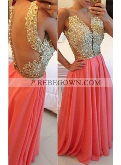 Long Floor length Cowl A-Line Beading Chiffon Water Melon Prom Dresses