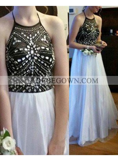 A-Line Halter Sleeveless Beading Long Floor length Chiffon 2021 Unique White Prom Dresses