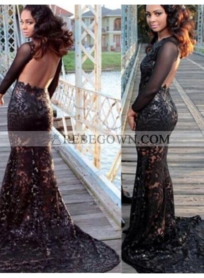 2020 Junoesque Black Long Floor length Mermaid Backless Lace Prom Dresses