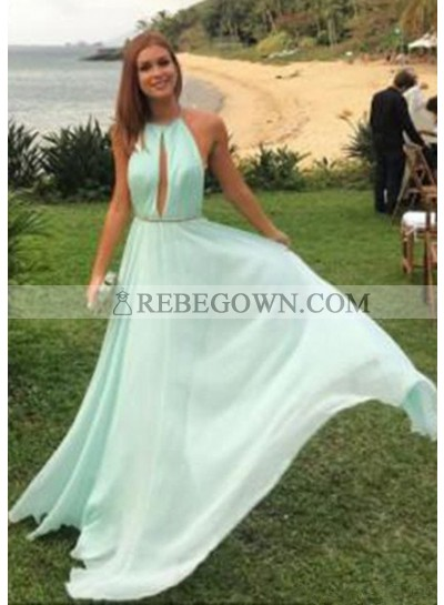 A-Line Halter Sleeveless Natural Backless Chiffon Sage Prom Dresses