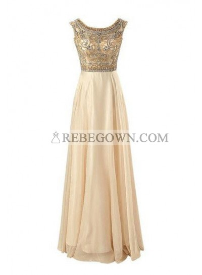 Long Floor length A-Line Beading Long Floor length Chiffon Prom Dresses