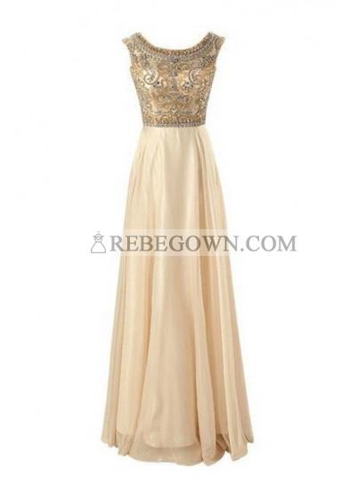 Long Floor length A-Line Beading Long Floor length Chiffon Prom Dresses