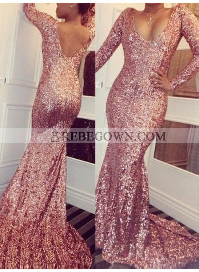 Mermaid Scoop Long Sleeve Natural Sequined Rose Gold Prom Dresses