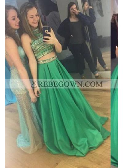 Long Floor length A-Line High Neck Beading Satin Prom Dresses