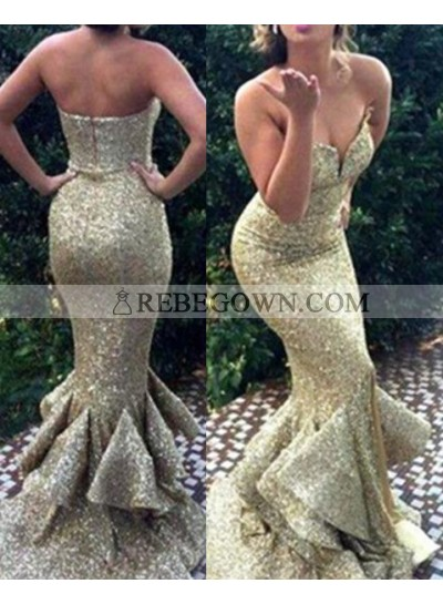 Sweetheart Mermaid Sequined Cheap Prom Dresses