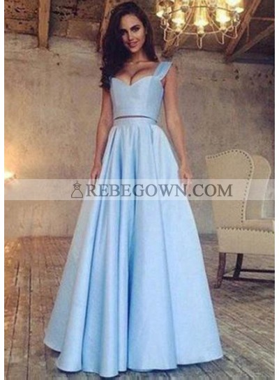 rebe gown 2021 Blue A-Line Sleeveless Natural Long Floor length Satin Prom Dresses