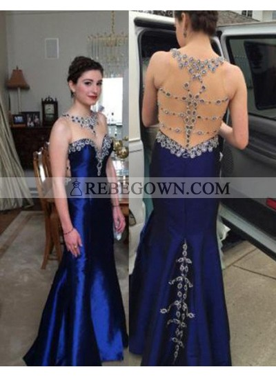 rebe gown 2020 Blue Sheer Back Beading Mermaid Taffeta Prom Dresses