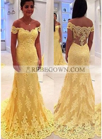 Long Floor length Off-the-Shoulder Mermaid Lace Prom Dresses