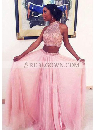 High Neck Beading Natural Two Pieces A-Line Prom Dresses