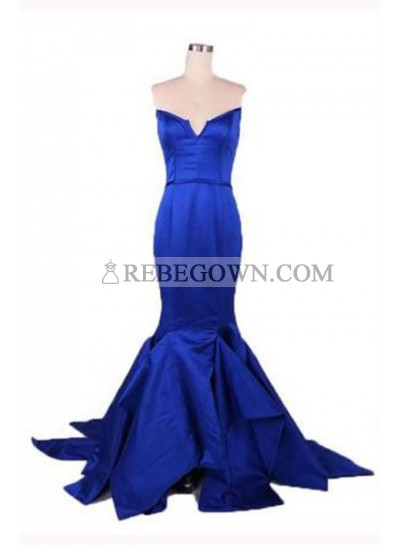 Long Floor length Mermaid Notched Satin Prom Dresses