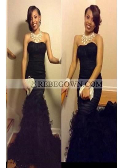 2020 Junoesque Black Long Floor length Mermaid Strapless Tulle Prom Dresses