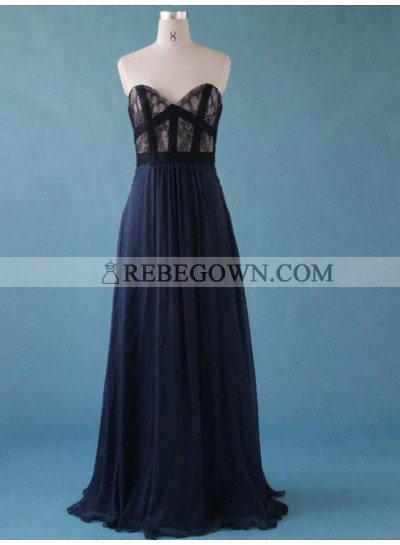 rebe gown 2021 Blue A-Line Sweetheart Sleeveless Chiffon Prom Dresses