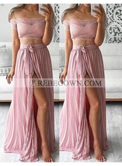 Off-the-Shoulder Split Front Pleats A-Line Two Pieces Prom Dresses