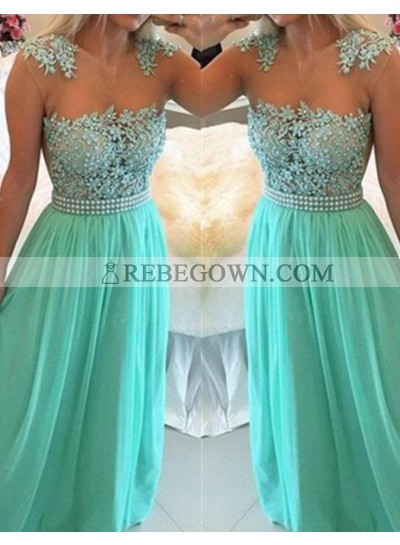 Sage Green Long Floor length A-Line Appliques Chiffon Prom Dresses
