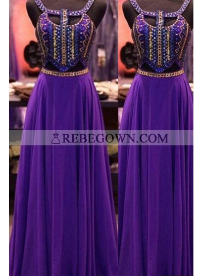 Long Sleeveless A-Line Beading Chiffon Prom Dresses