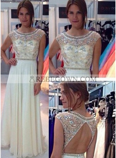 Champagne A-Line Sleeveless Natural Prom Long Floor length Chiffon Prom Dresses