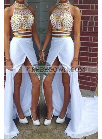 2020 Unique White Long Floor length Column/Sheath High Neck Split Front Chiffon Prom Dresses