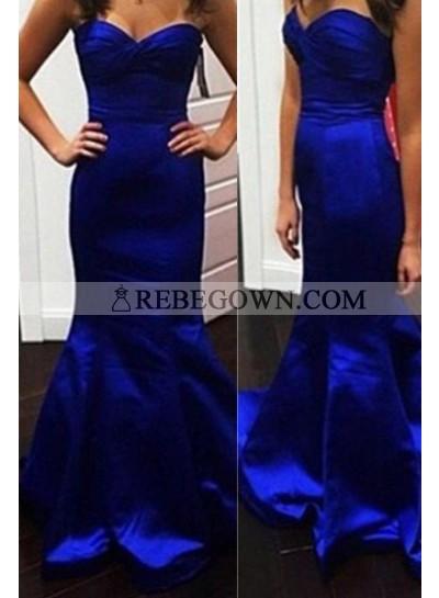 rebe gown 2021 Blue Long Floor length Mermaid Sweetheart Taffeta Prom Dresses