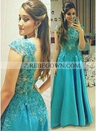 rebe gown 2021 Blue A-Line Natural Appliques Long Floor length Satin Prom Dresses