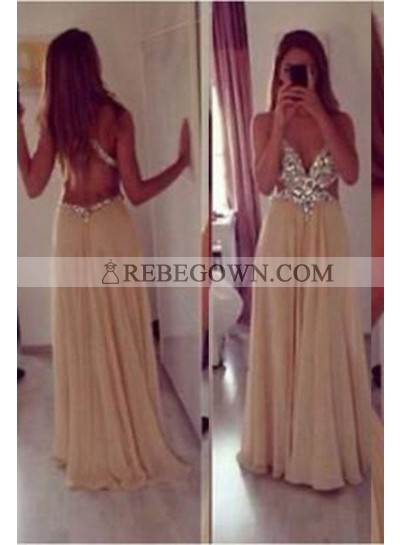 A-Line V-Neck Sleeveless Backless Long Floor length Chiffon Champagne Champagne Prom Dresses