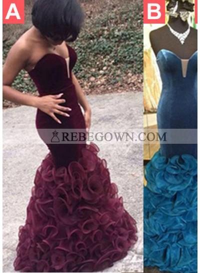 2020 Junoesque Black Sexy Sweetheart Cascading Satin Prom Dresses