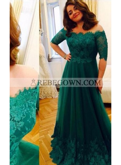 Green Off-the-Shoulder Half Sleeves Lace A-Line Tulle Prom Dresses