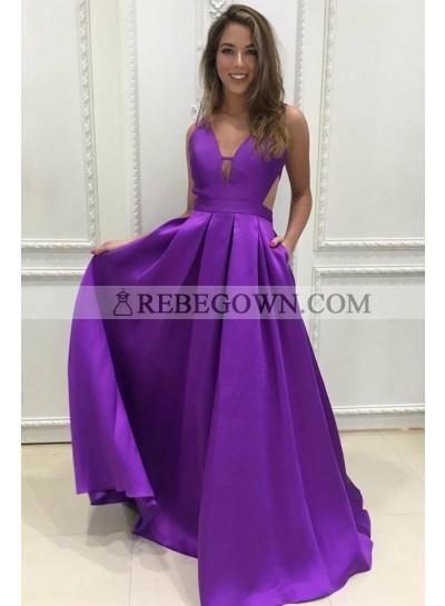Purple Princess/A-Line Satin Prom Dresses Long