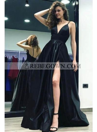 2021 Sexy Black Sweetheart Side Slit Satin Prom Dresses