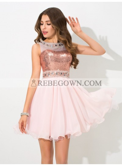 A-Line Princess Sheer Neck Sequin Sleeveless Short Chiffon Homecoming Dresses