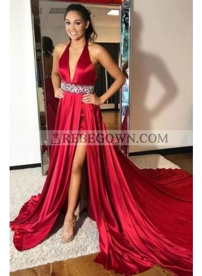 2020 Charming Princess/A-Line Satin Burgundy V Side Slit Prom Dresses