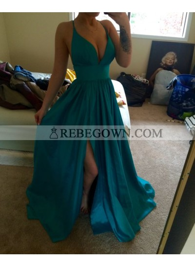 2021 Cheap Princess/A-Line Sweetheart Satin Teal Prom Dresses