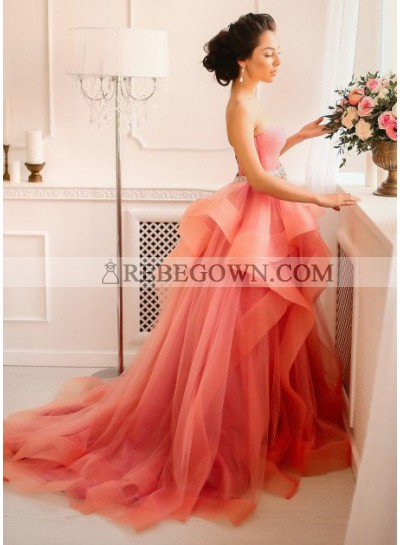 Sweetheart Natural Layers A-Line Tulle Prom Dresses