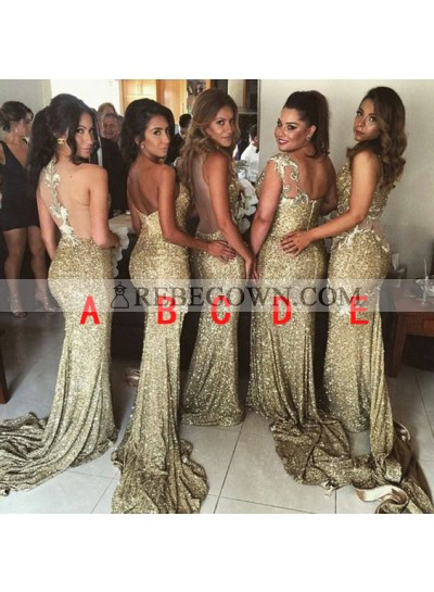 2020 Sexy Gold Sequins Mermaid  Long Train Bridesmaid Dresses / Gowns