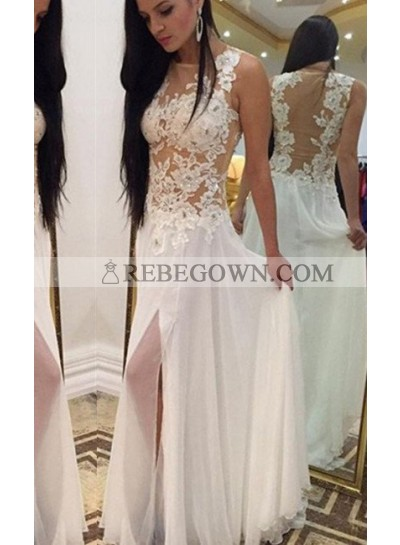 2020 Unique White Split Front Appliques Natural A-Line Chiffon Prom Dresses