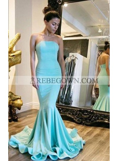 Strapless Natural Sweep Train Mermaid Prom Dresses