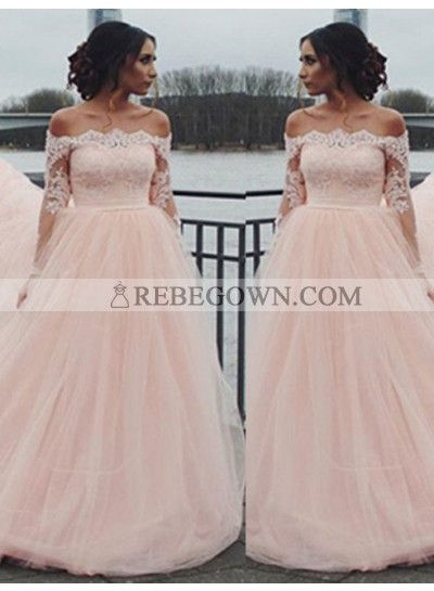 Long Sleeve Off-the-Shoulder Lace A-Line Tulle 2021 Glamorous Pink Prom Dresses