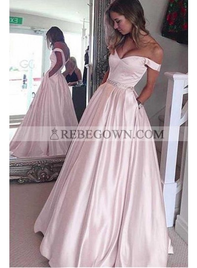 2020 Siren Princess/A-Line Satin Off The Shoulder Blushing Pink Prom Dresses