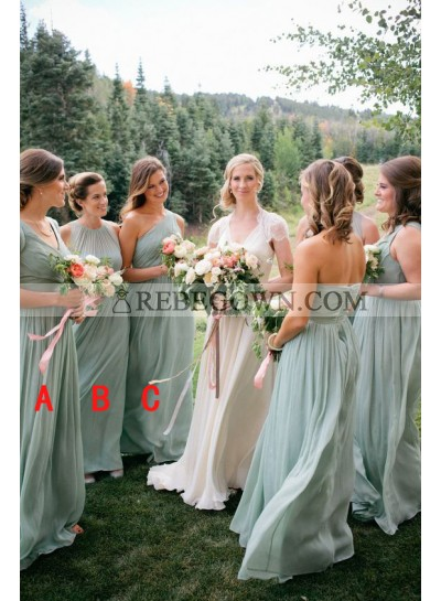 2020 New Arrival Chiffon A Line Sage Green Halter Long Bridesmaid Dresses / Gowns