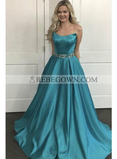 2020 Cheap Satin Princess/A-Line Prom Dresses Strapless